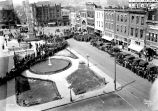 Pack Square. Movie, ''Conquest of Canaan'' scene being shot.  Photo shows fountain and Vance...